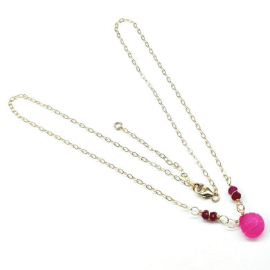 14 K Gold Filled Pink Fuchsia Chalcedony Drop Chain Necklace Necklace Lexi Butler Designs