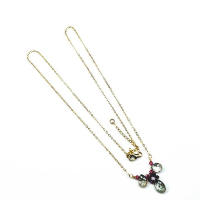 14 KT Gold Filled Wired Mystic Rainbow Quartz Drop Fuchsia Crystal Necklace Necklaces Lexi Butler Designs