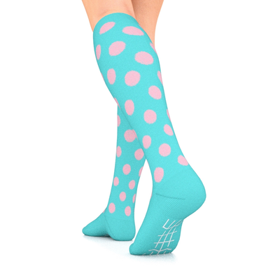 Designer Series Turquoise and Pink Polka Dot Compression Socks 15-20 mmHg