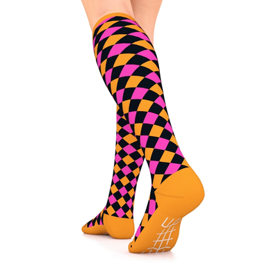 Designer Series Compression Socks Black/Pink/Orange Harlequin 10-15 mmHg
