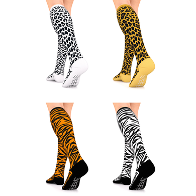 Designer Series Compression Socks 4 Pair Black/White Leopard, Yellow/Brown Leopard, Black/White Zebra, Orange/Black Tiger 15-20 mmHg