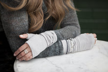 "Load image into Gallery viewer, CLEARANCE Long ""Silver Grey"" fingerless gloves/(fingerless mitts) ""Maren"" with swirl design made from bamboo  www.aylagloves.com"