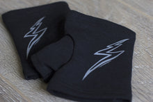 "Load image into Gallery viewer, CLEARANCE Short black fingerless gloves/(fingerless mitts) ""Maven"" with lightning bolt design made from bamboo  www.aylagloves.com"