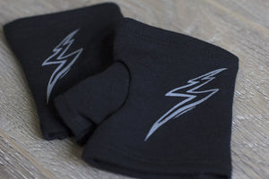 "CLEARANCE Short black fingerless gloves/(fingerless mitts) ""Maven"" with lightning bolt design made from bamboo  www.aylagloves.com"