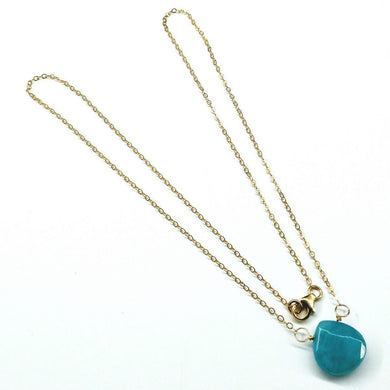 Aqua Gemstone Drop 14 K Gold Filled Necklace Necklaces Lexi Butler Designs