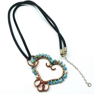 Aqua Wire Sculpted Heart Pendant Leather Necklace Necklaces Lexi Butler Designs