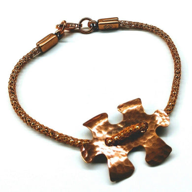 Autism Awareness Copper Puzzle Piece Button Viking Knit Bracelet Bracelets Lexi Butler Designs