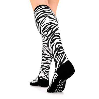 Designer Series Compression Socks Black and White Zebra 10-15 mmHg