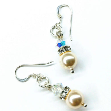 Bridal Sterling Silver Short Swarovski Pearl Crystal Stack Earrings Earrings Lexi Butler Designs