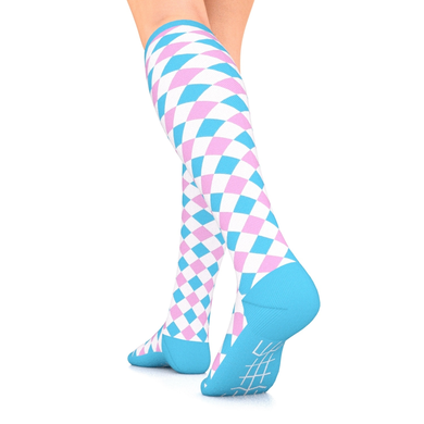 Designer Series Compression Socks White/Pink/Blue Harlequin 10-15 mmHg