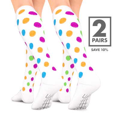 Polka Dot Compression Socks 2 Pair 15-20 mmHg