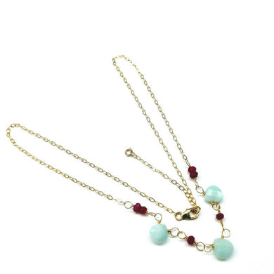 Gold Chain Necklace With Fuchsia and Mint Color Gemstones Necklace Lexi Butler Designs