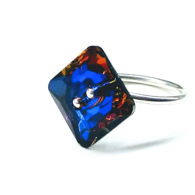 Meridian Blue Swarovski Crystal Shank Button Bling Ring Ring Lexi Butler Designs