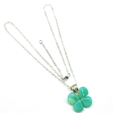 Mint Green Beaded Sterling Silver Clover Necklace Necklace Lexi Butler Designs