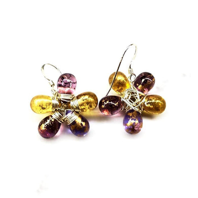 Purple and Yellow Flower Sterling Silver Earrings Earrings Lexi Butler Designs