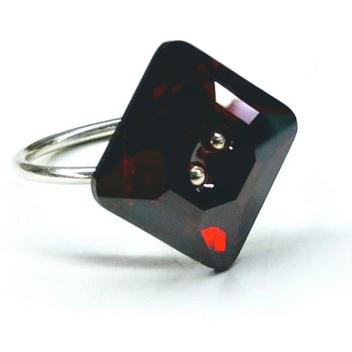 Red Magma Swarovski Crystal Shank Button Bling Ring Ring Lexi Butler Designs 6