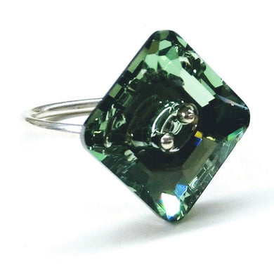 Sterling Silver Green Chrysolite Swarovski Crystal Shank Button Ring Ring Lexi Butler Designs