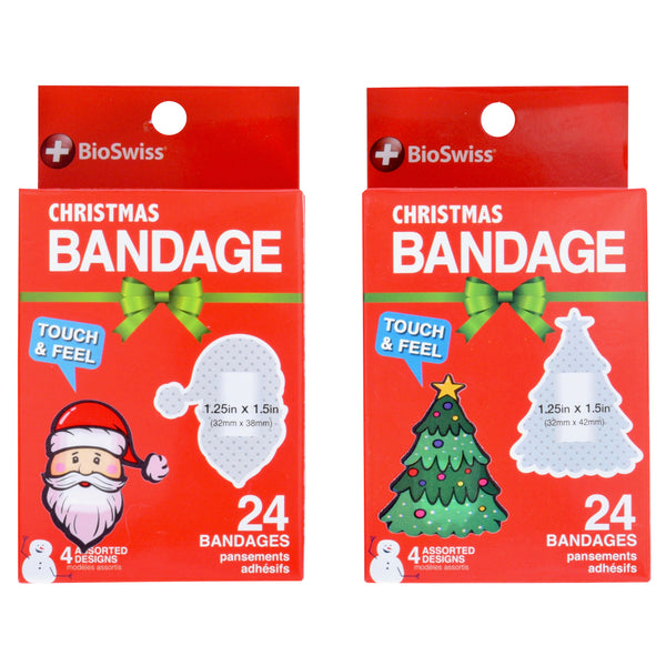 Christmas Assorted Shaped Bandages- Pack of 24