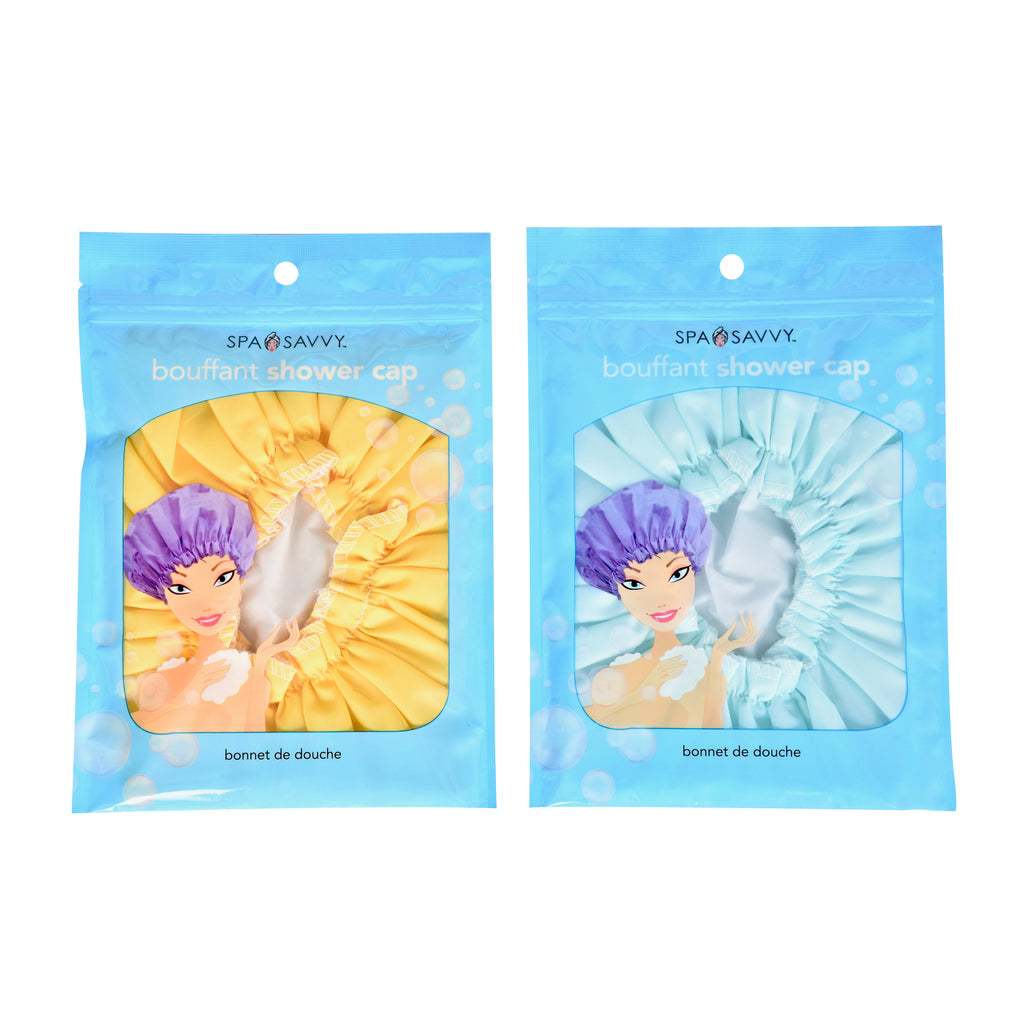 Spa Savvy Bouffant Shower Cap Waterproof Fully Lined Cinched Elastic Other Bath & Body Supplies