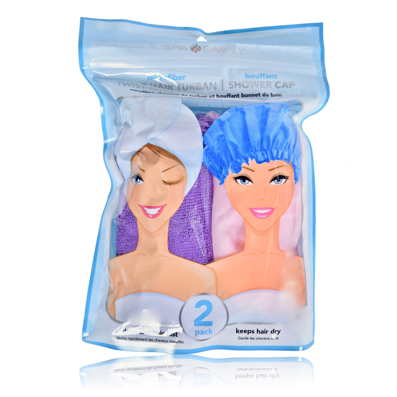 Set of 2 Twist Hair Turban and Bouffant Shower Cap