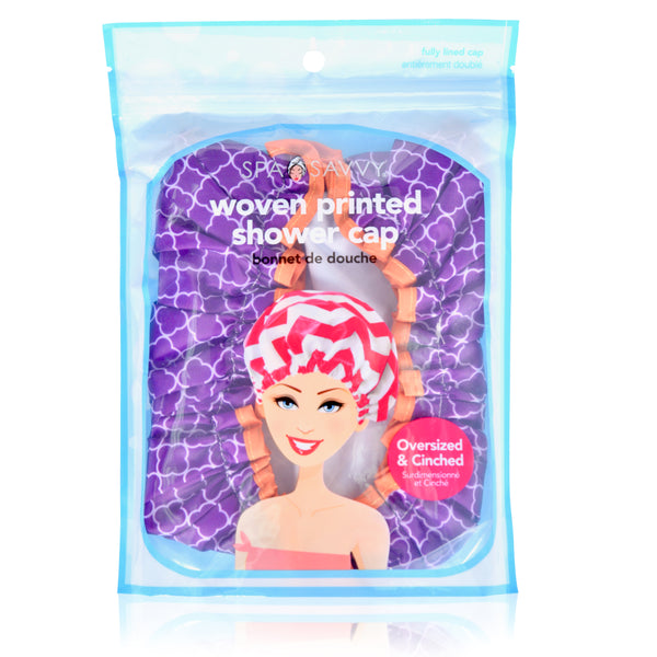 Fully Lined Printed Woven Shower Cap