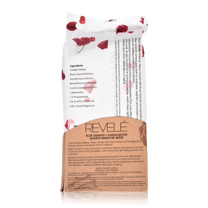Rose Granati and Sandalwood 60 Count Makeup Remover Wipes