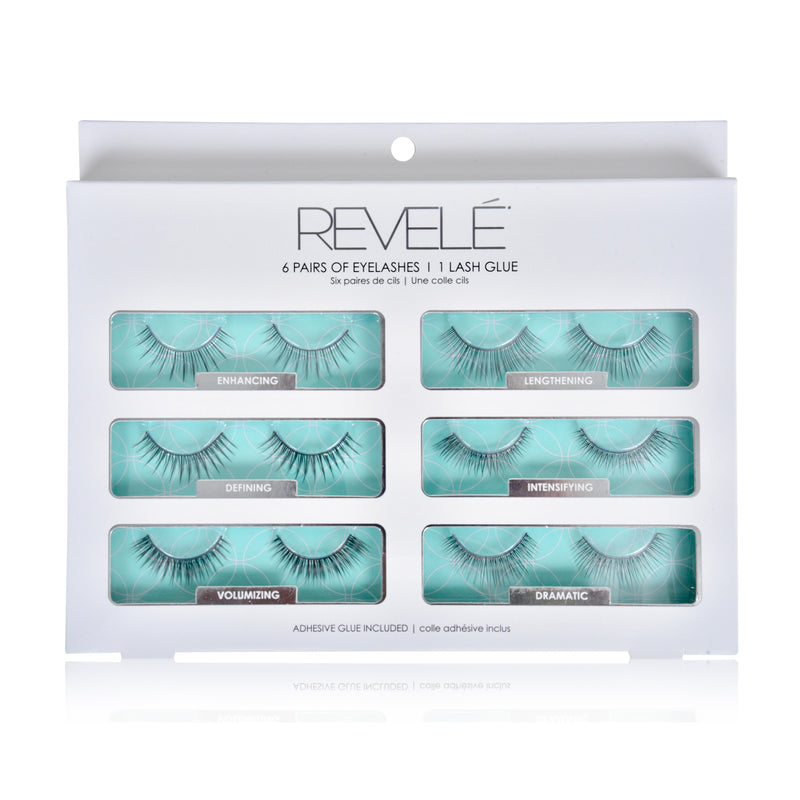 6 Pairs of Faux Eyelashes with Glue