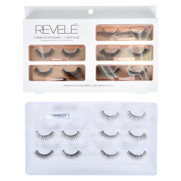 5 Pairs of Faux Eyelashes with Glue