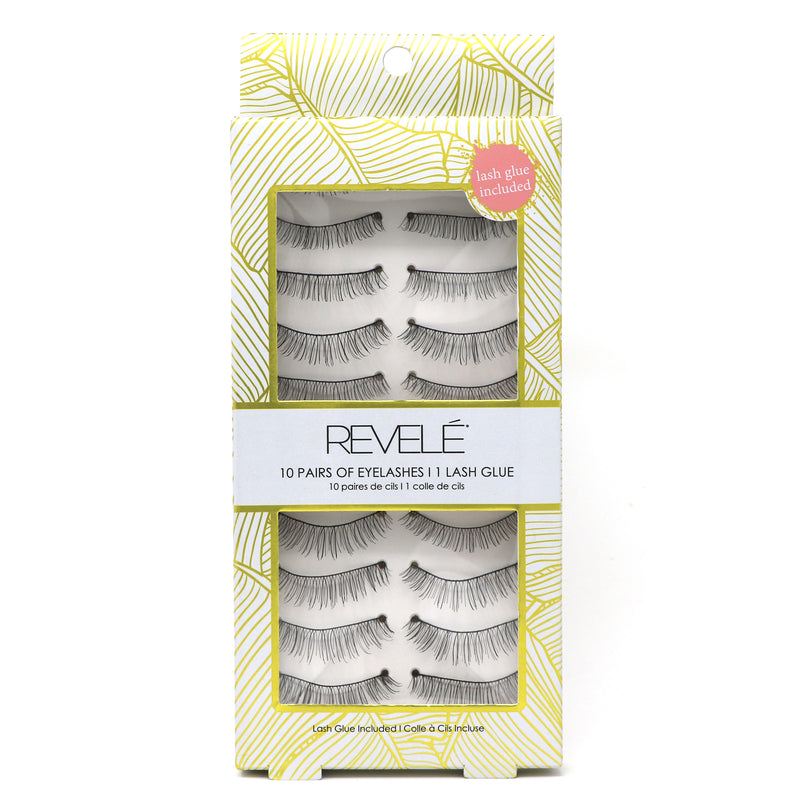 10 Pair of Faux Eyelashes with Glue