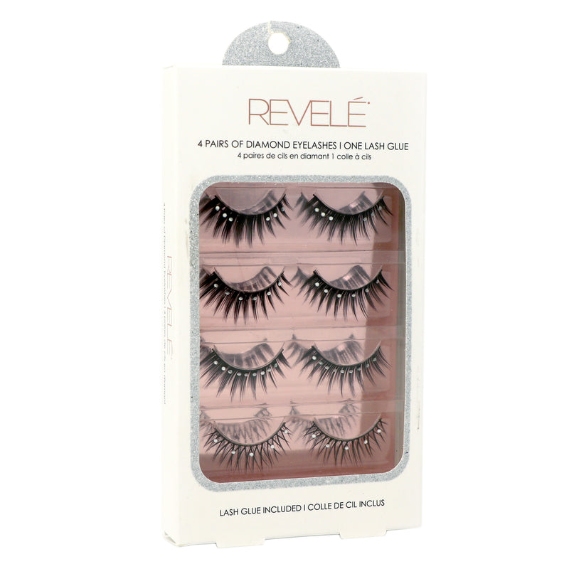 4 Pairs of Faux Eyelashes with Glue