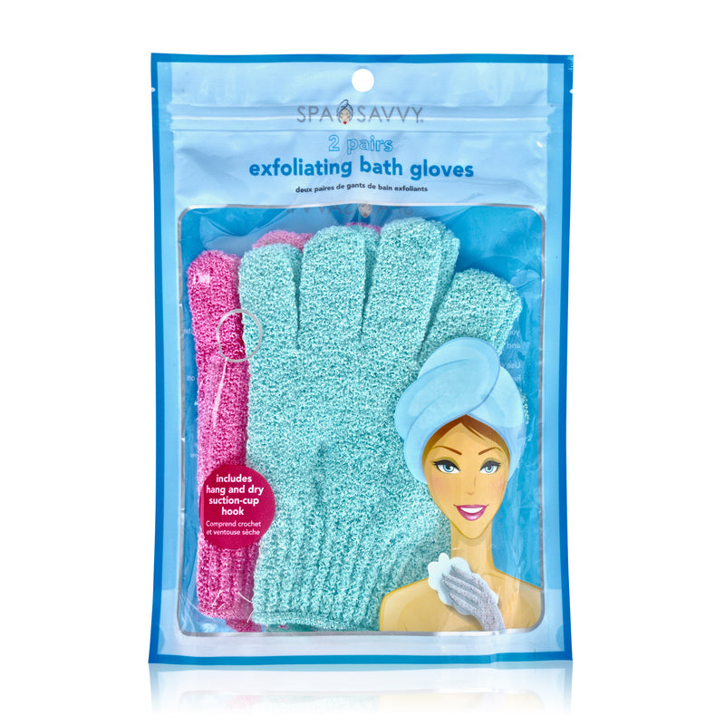 Set of 2 Pairs of Exfoliating Bath Gloves