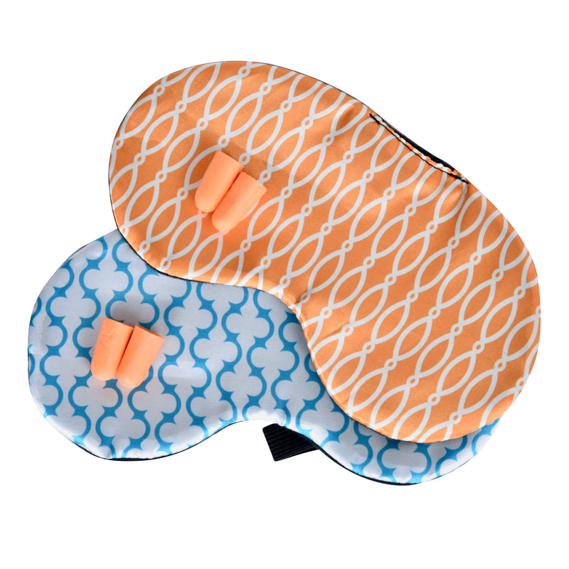 Set of 2 Satin Eye Masks with Ear Plugs