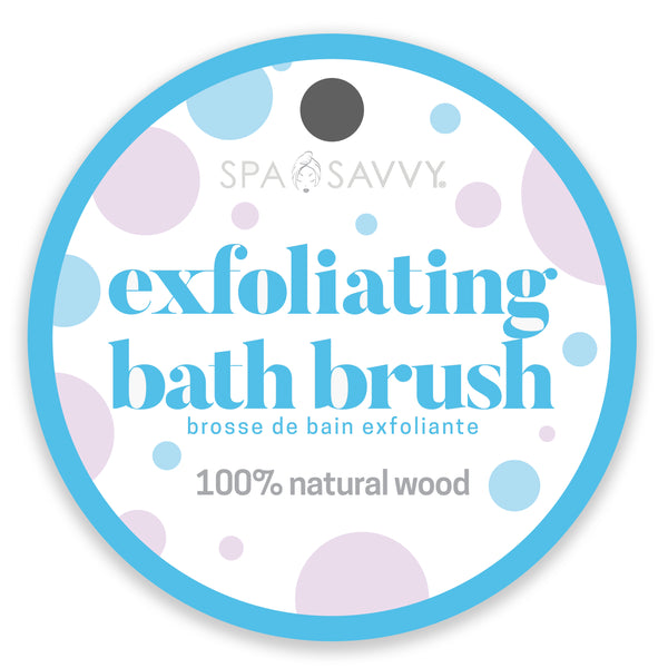 Wood Exfoliating Bath Brush with Pouf