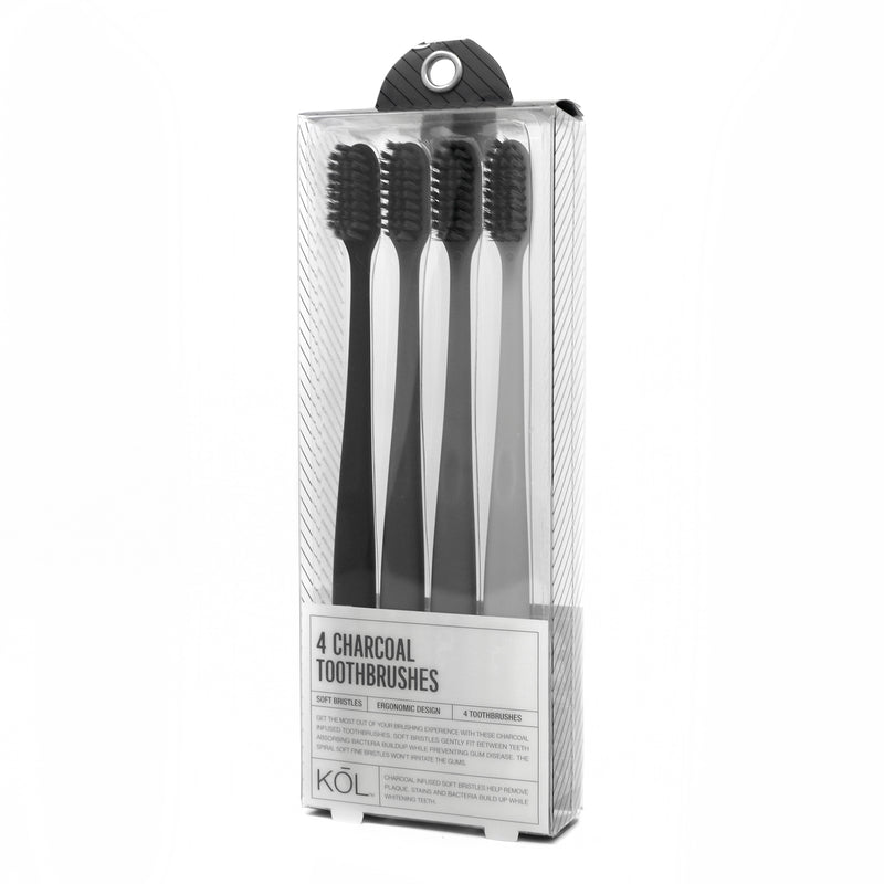 KŌL Pack of 4 Charcoal Toothbrushes