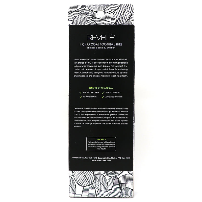Revele Pack of 4 Charcoal Toothbrushes