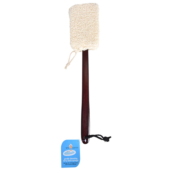Wood Bath Brush with Terry Bath Sponge