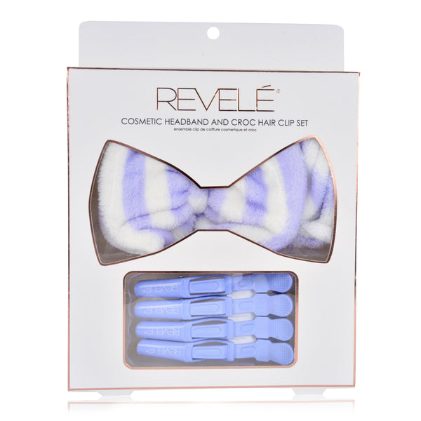 Cosmetic Headband and Croc Hair Clip Set
