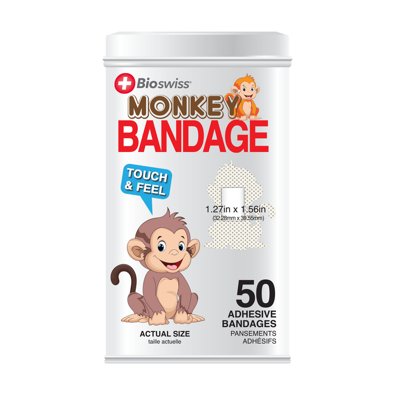 Monkey Bandages - 50 Count Tin