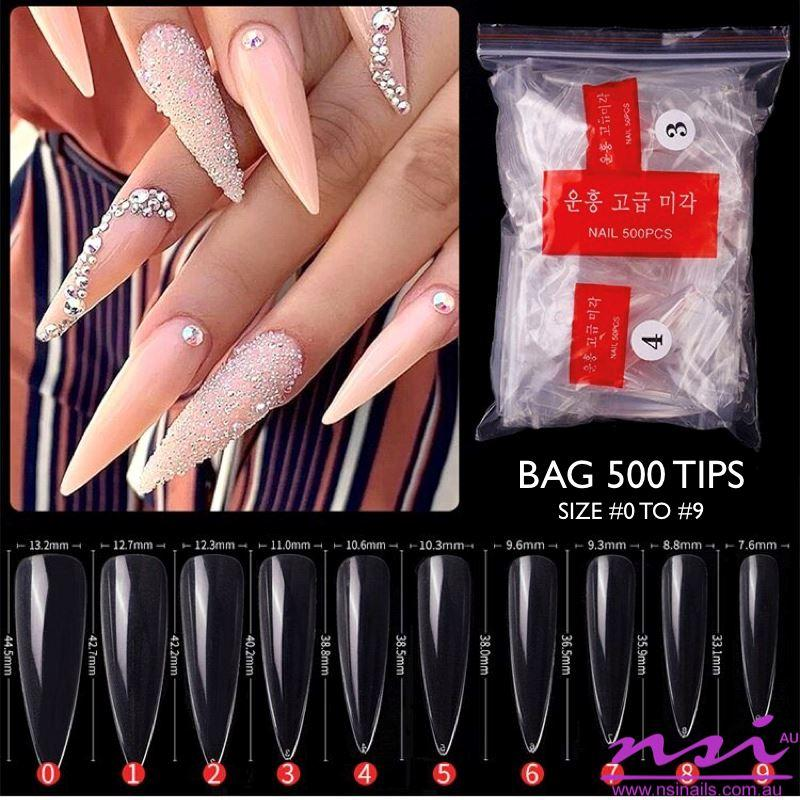 LONG STILETTO Nail Tips 500ct BagClear 500ct Bag