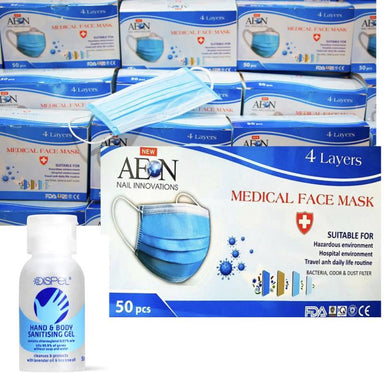 MEDICAL FACE MASK 4 LayersBox 50pcs + FREE Sanitising Gel 50ml