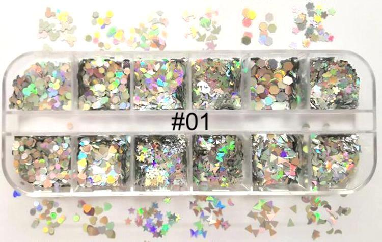 Silver Holographic Sequins Tray#01
