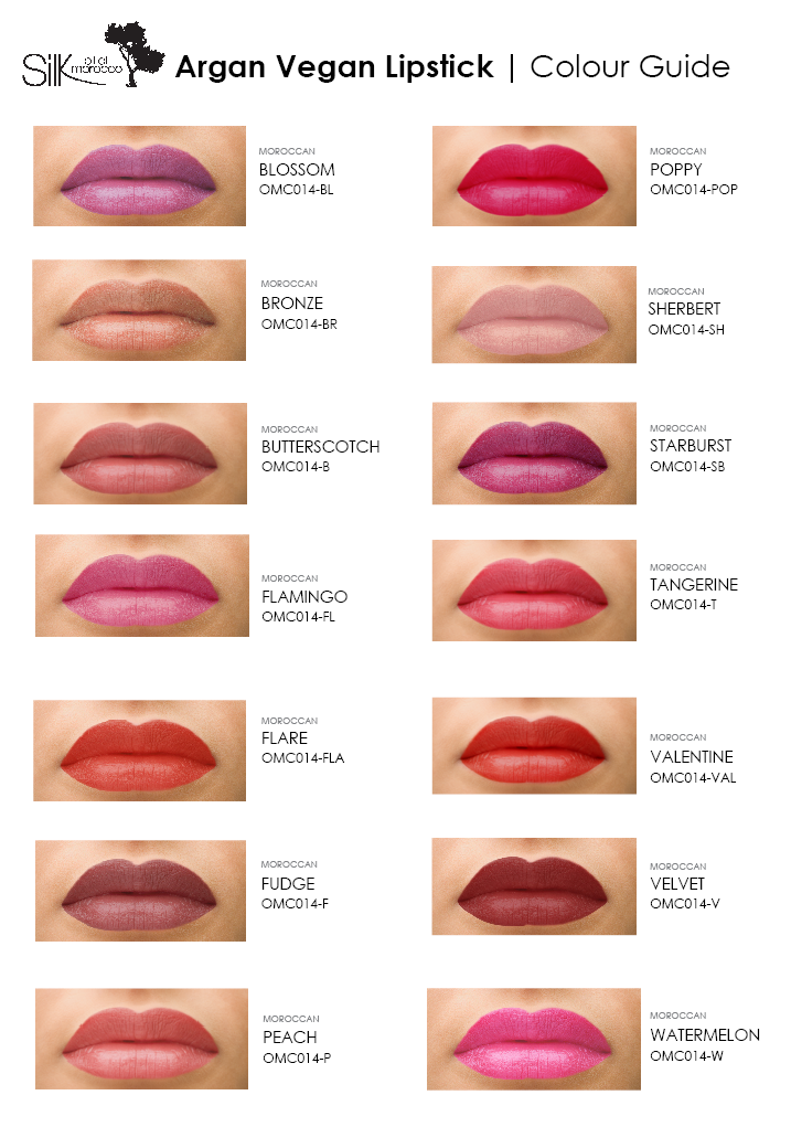 SilkOilofMorocco_ArganVegan-Lipstick_ColourGuide_ColourChart_ColourSwatches