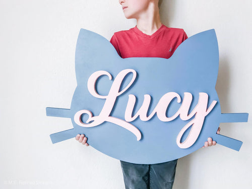3D Cat Head Nursery Sign