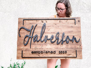 3D Modern Farmhouse Family Sign