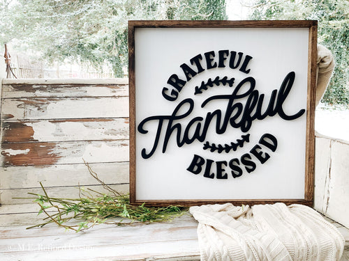 3D Grateful Thankful Blessed Framed Sign
