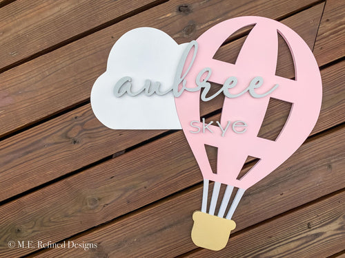 3D Air Balloon Nursery Sign
