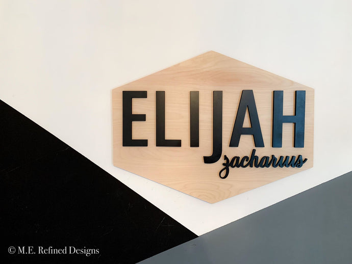 3D Birch Hexagon Nursery Sign