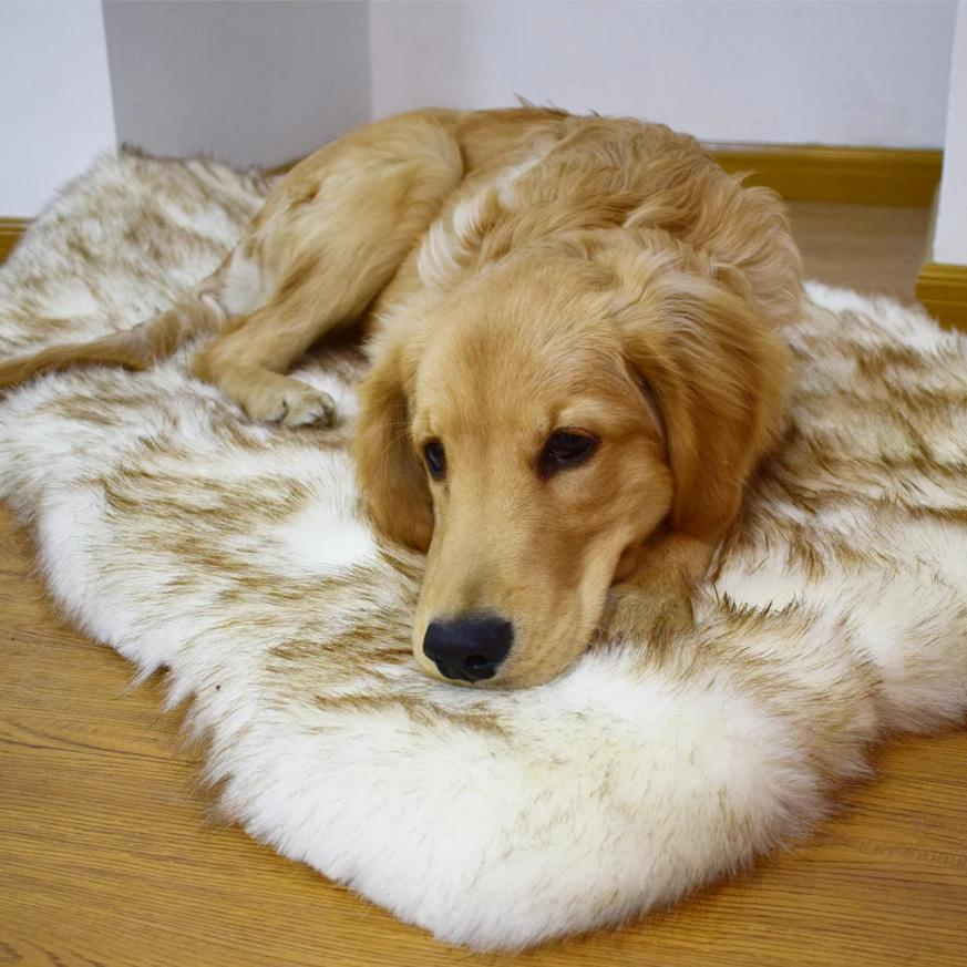Calming Faux Fur Dog Beds Orthopedic Anxiety Rug
