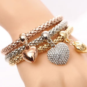 Charm Bangle Three Piece Bracelet Set