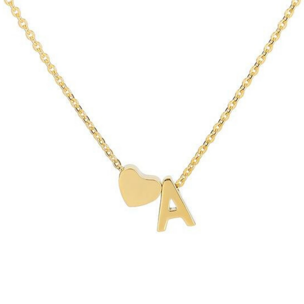 Minimalist Initial Necklace Letter Pendant Gold Silver